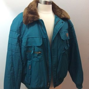 Vintage Sasson Winter Coat Jacket Teal Fur Lined